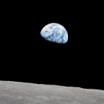 Image of the Earth rise from the moon, taken by NASA.